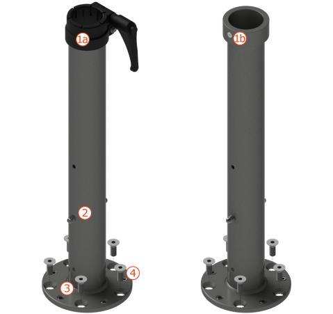 Quante-Design Standrohre P080, für Schirme mit Mast-Ø 48 mm oder 55 mm
